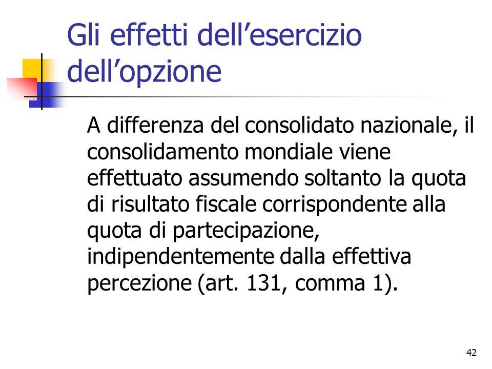 42 Gli effetti dell'esercizio dell'opzione A differenza del consolidato nazionale, il consolidamento mondiale viene effettuato assumendo soltanto la q