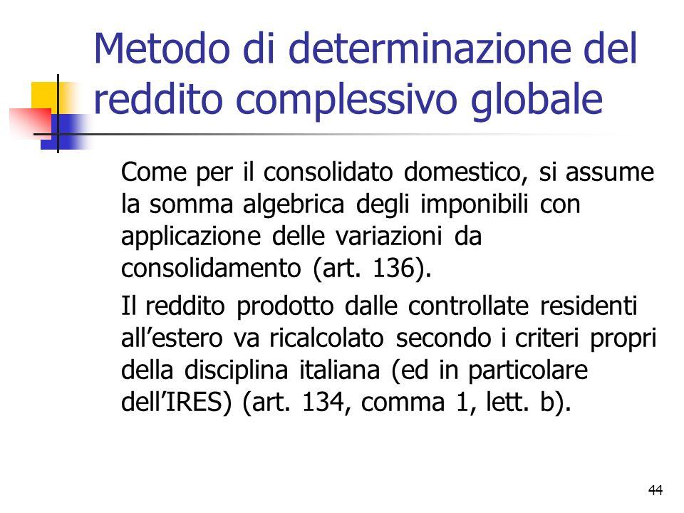 44 Metodo di determinazione del reddito complessivo globale Come per il consolidato domestico, si assume la somma algebrica degli imponibili con appli