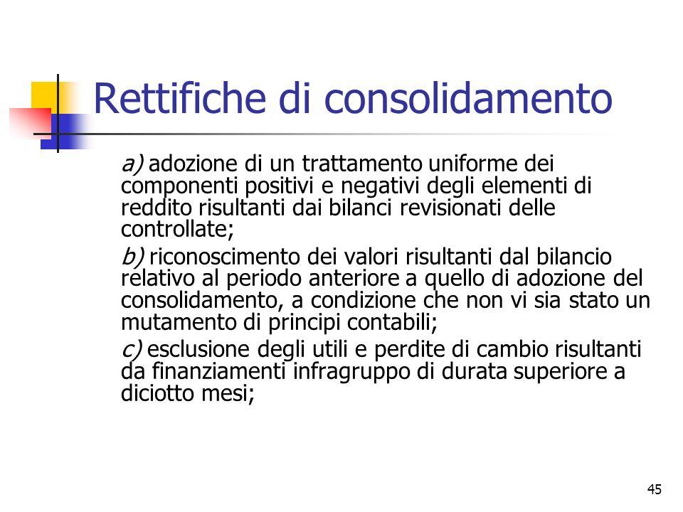 45 Rettifiche di consolidamento a) adozione di un trattamento uniforme dei componenti positivi e negativi degli elementi di reddito risultanti dai bil