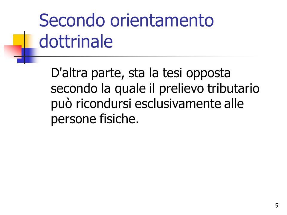 5 Secondo orientamento dottrinale D'altra parte, sta la tesi opposta secondo la quale il prelievo tributario può ricondursi esclusivamente alle person