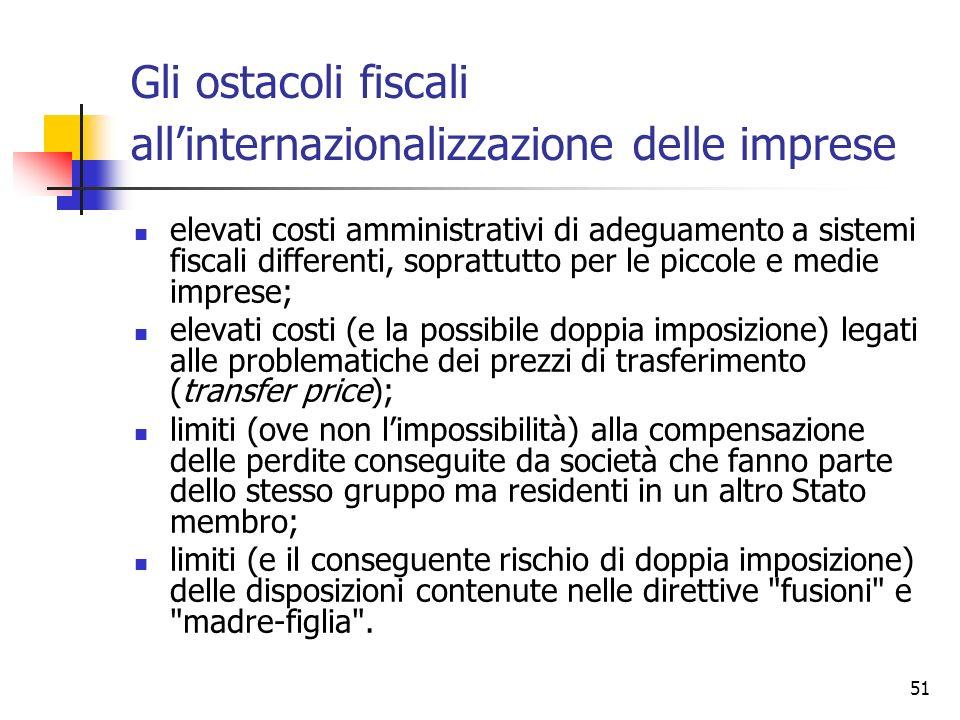 51 Gli ostacoli fiscali all'internazionalizzazione delle imprese elevati costi amministrativi di adeguamento a sistemi fiscali differenti, soprattutto
