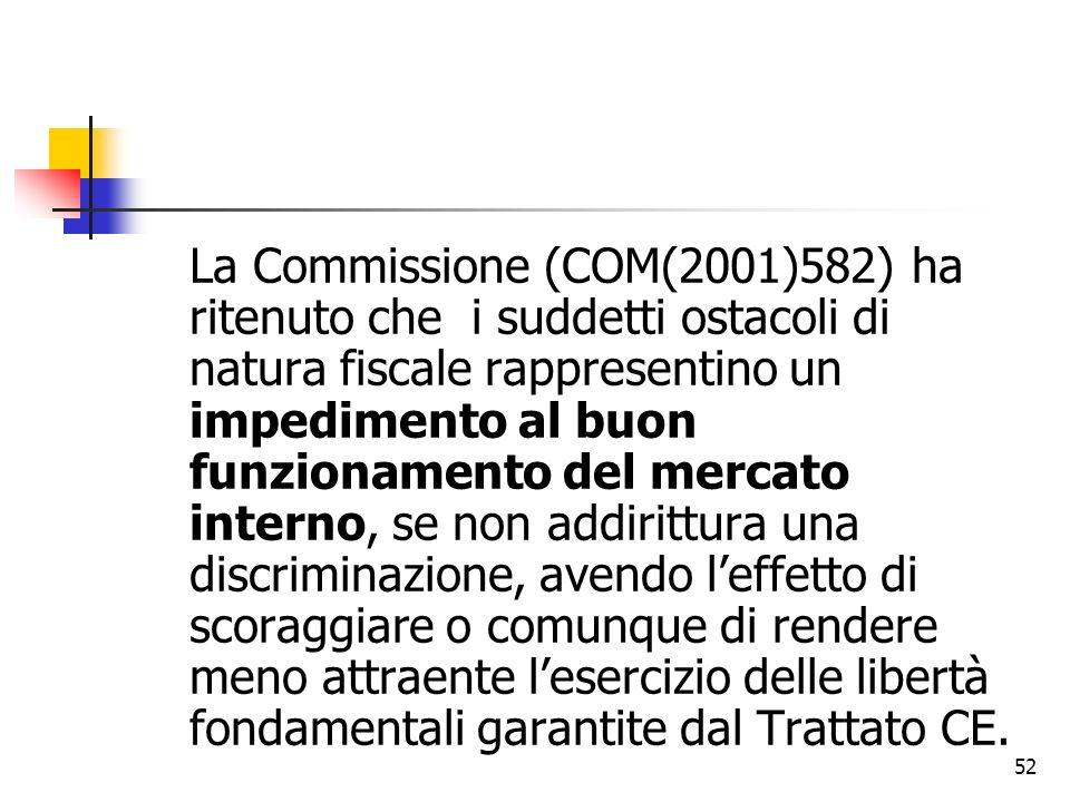 52 La Commissione (COM(2001)582) ha ritenuto che i suddetti ostacoli di natura fiscale rappresentino un impedimento al buon funzionamento del mercato