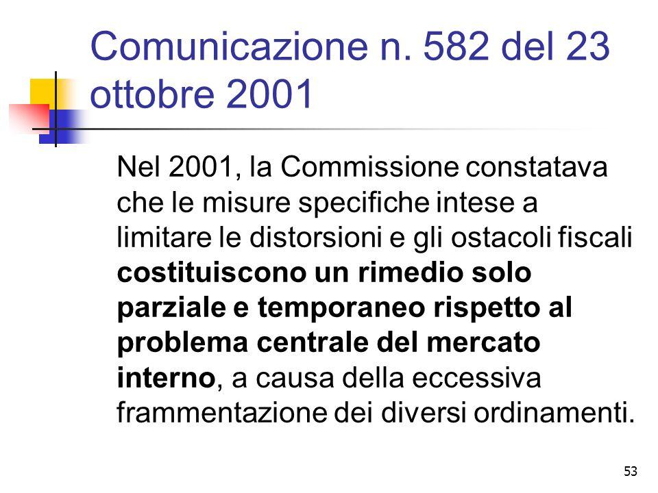 53 Comunicazione n. 582 del 23 ottobre 2001 Nel 2001, la Commissione constatava che le misure specifiche intese a limitare le distorsioni e gli ostaco