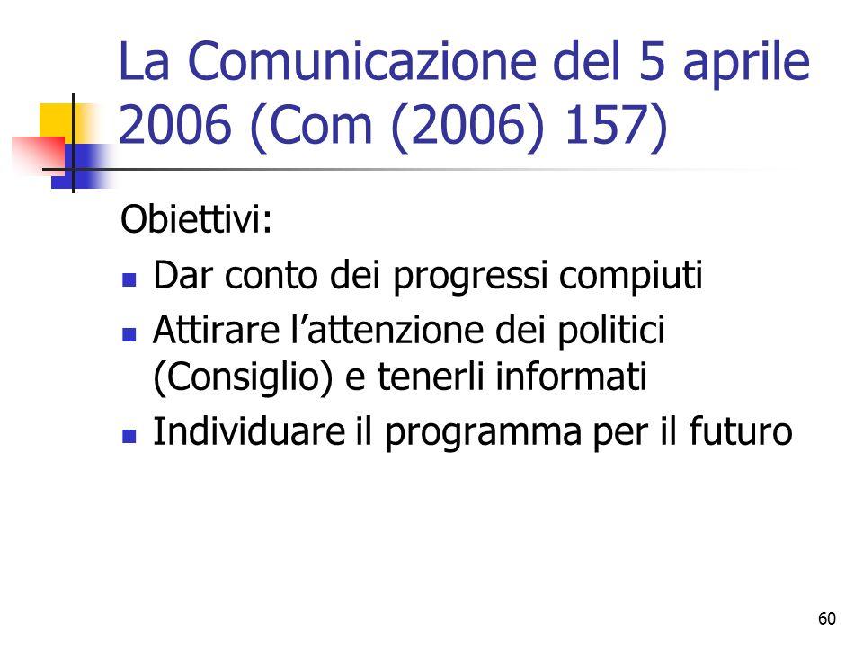 60 La Comunicazione del 5 aprile 2006 (Com (2006) 157) Obiettivi: Dar conto dei progressi compiuti Attirare l'attenzione dei politici (Consiglio) e te