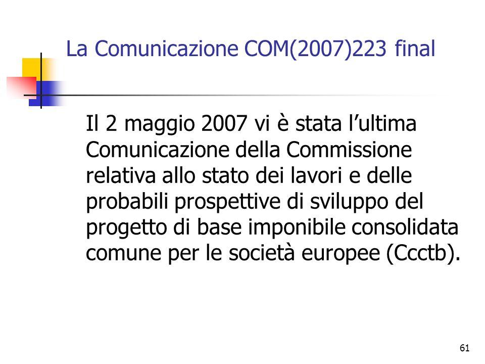 61 La Comunicazione COM(2007)223 final Il 2 maggio 2007 vi è stata l'ultima Comunicazione della Commissione relativa allo stato dei lavori e delle pro