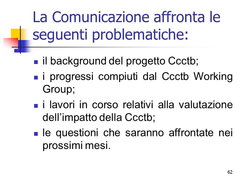 62 La Comunicazione affronta le seguenti problematiche: il background del progetto Ccctb; i progressi compiuti dal Ccctb Working Group; i lavori in co
