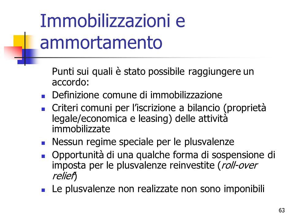 63 Immobilizzazioni e ammortamento Punti sui quali è stato possibile raggiungere un accordo: Definizione comune di immobilizzazione Criteri comuni per