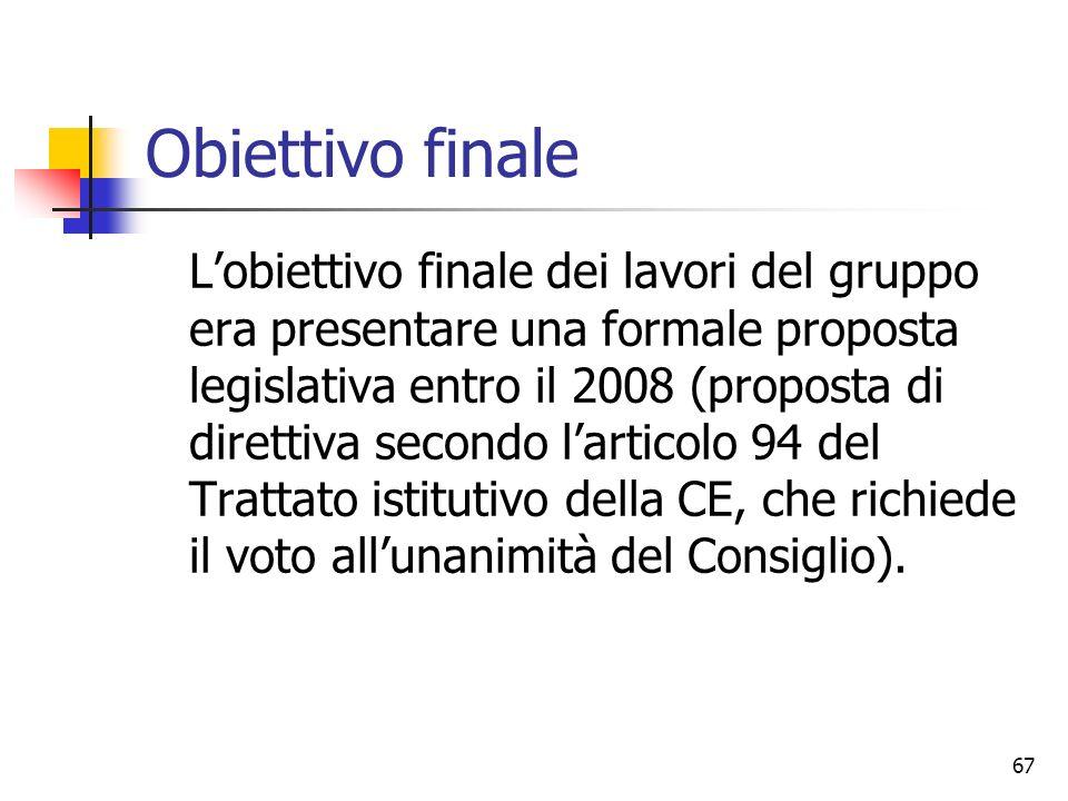 67 Obiettivo finale L'obiettivo finale dei lavori del gruppo era presentare una formale proposta legislativa entro il 2008 (proposta di direttiva seco
