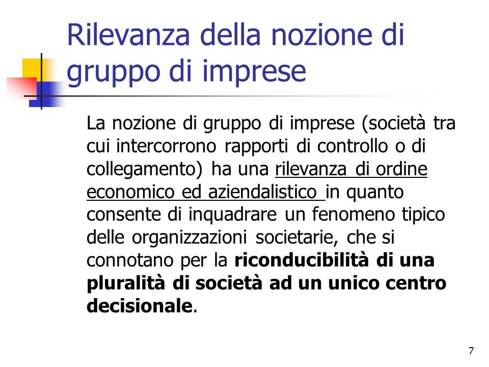 7 Rilevanza della nozione di gruppo di imprese La nozione di gruppo di imprese (società tra cui intercorrono rapporti di controllo o di collegamento)