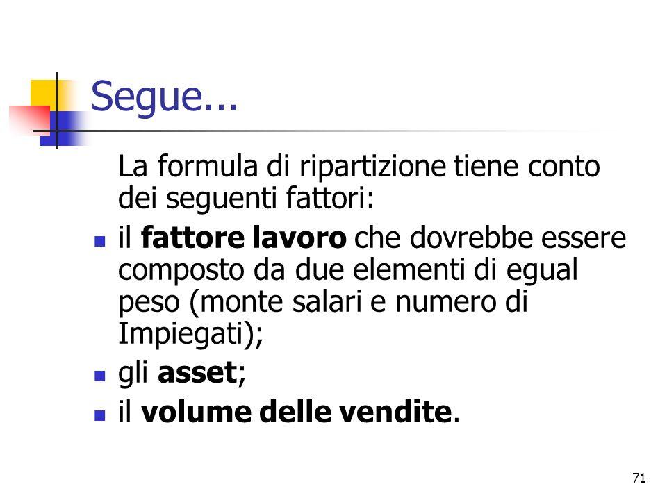 71 Segue... La formula di ripartizione tiene conto dei seguenti fattori: il fattore lavoro che dovrebbe essere composto da due elementi di egual peso