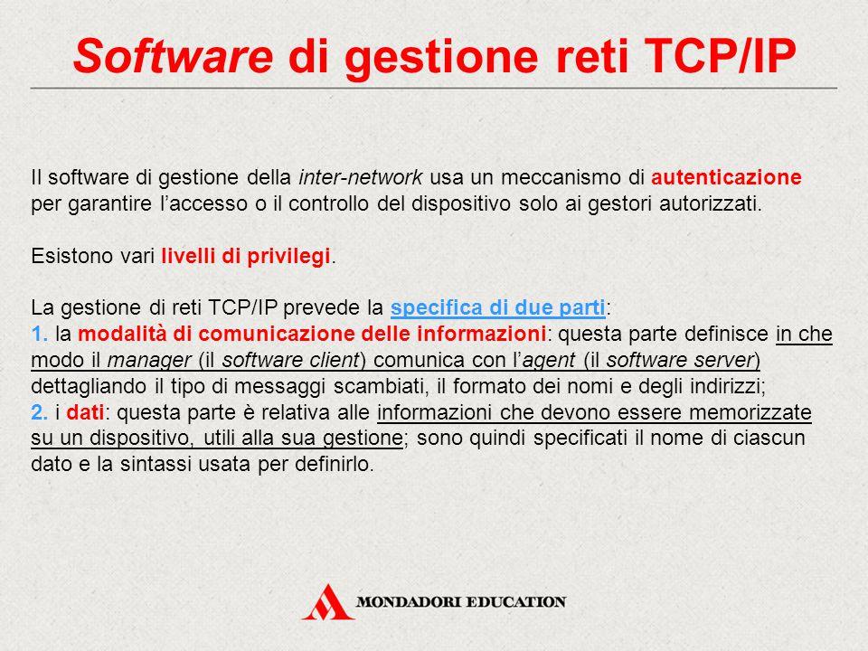 Software di gestione reti TCP/IP Il software di gestione della inter-network usa un meccanismo di autenticazione per garantire l'accesso o il controll