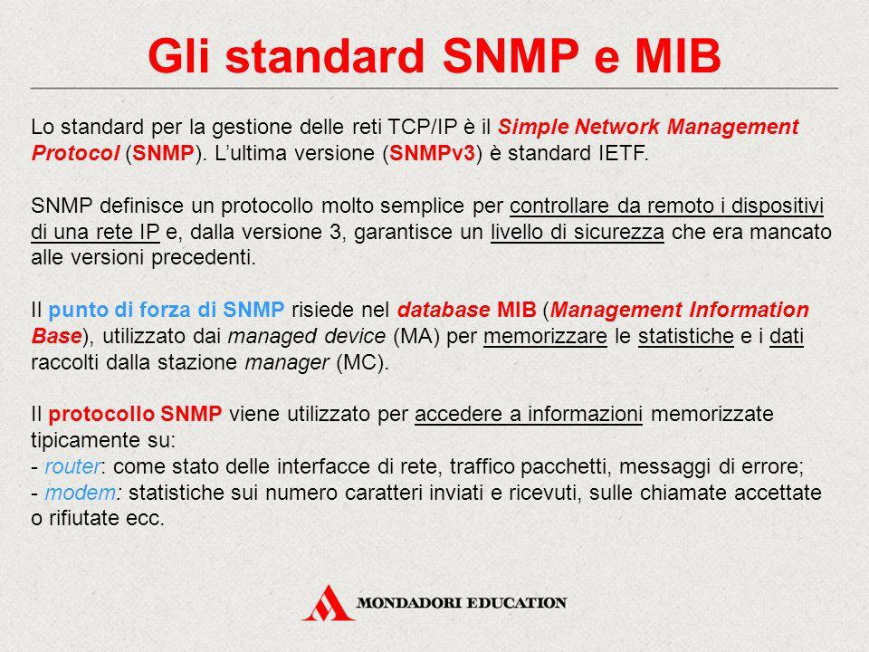 Gli standard SNMP e MIB Lo standard per la gestione delle reti TCP/IP è il Simple Network Management Protocol (SNMP). L'ultima versione (SNMPv3) è sta