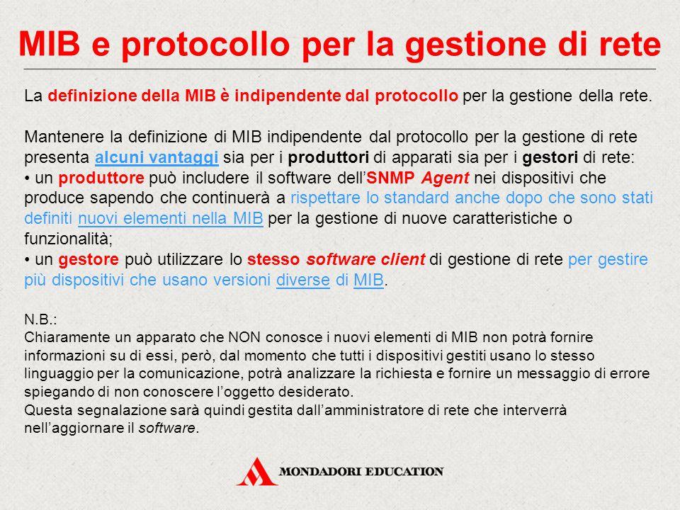MIB e protocollo per la gestione di rete La definizione della MIB è indipendente dal protocollo per la gestione della rete. Mantenere la definizione d