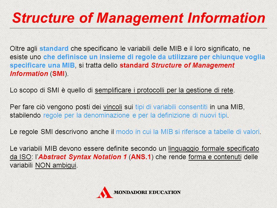 Structure of Management Information Oltre agli standard che specificano le variabili delle MIB e il loro significato, ne esiste uno che definisce un i