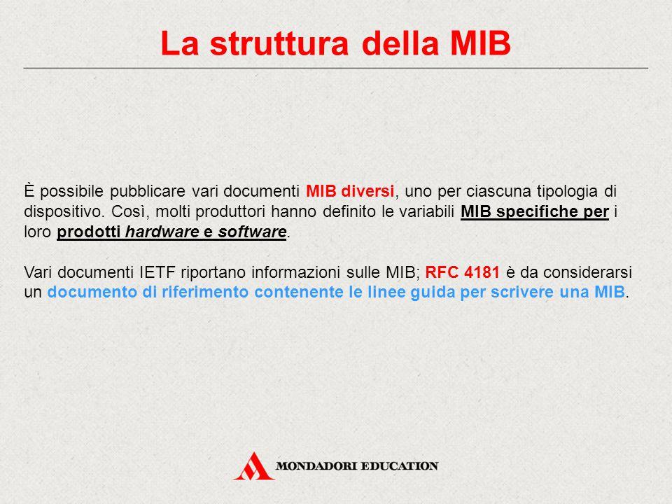 La struttura della MIB È possibile pubblicare vari documenti MIB diversi, uno per ciascuna tipologia di dispositivo. Così, molti produttori hanno defi