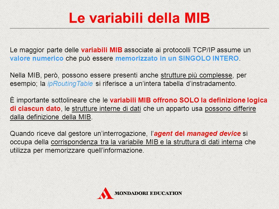 Alcune variabili della MIB La seguente tabella riporta alcune variabili di MIB associate ai protocolli TCP/IP:
