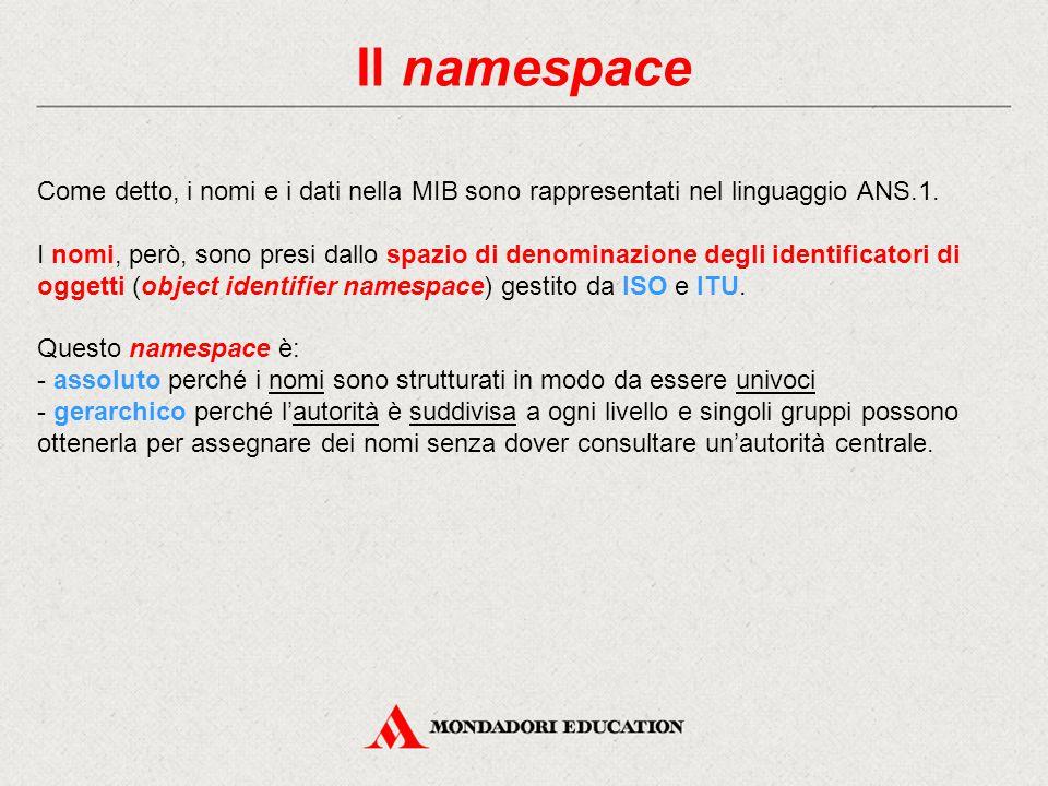 Il namespace Come detto, i nomi e i dati nella MIB sono rappresentati nel linguaggio ANS.1. I nomi, però, sono presi dallo spazio di denominazione deg