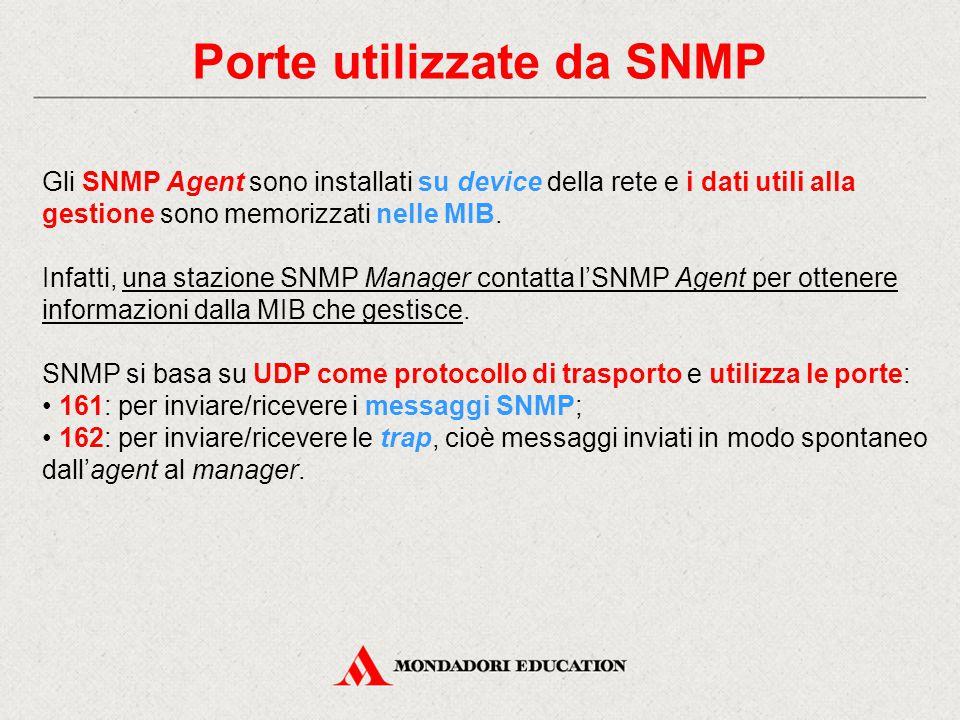 Porte utilizzate da SNMP Gli SNMP Agent sono installati su device della rete e i dati utili alla gestione sono memorizzati nelle MIB. Infatti, una sta