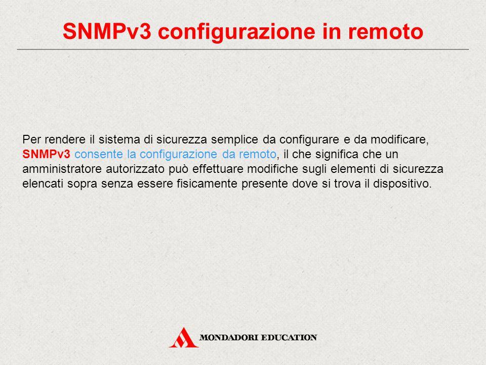 SNMPv3 configurazione in remoto Per rendere il sistema di sicurezza semplice da configurare e da modificare, SNMPv3 consente la configurazione da remo