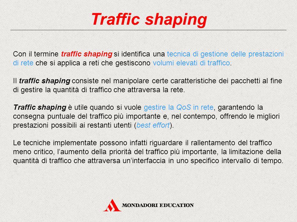 Traffic shaping Con il termine traffic shaping si identifica una tecnica di gestione delle prestazioni di rete che si applica a reti che gestiscono vo