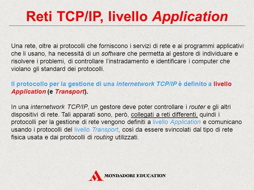 Reti TCP/IP, livello Application Una rete, oltre ai protocolli che forniscono i servizi di rete e ai programmi applicativi che li usano, ha necessità
