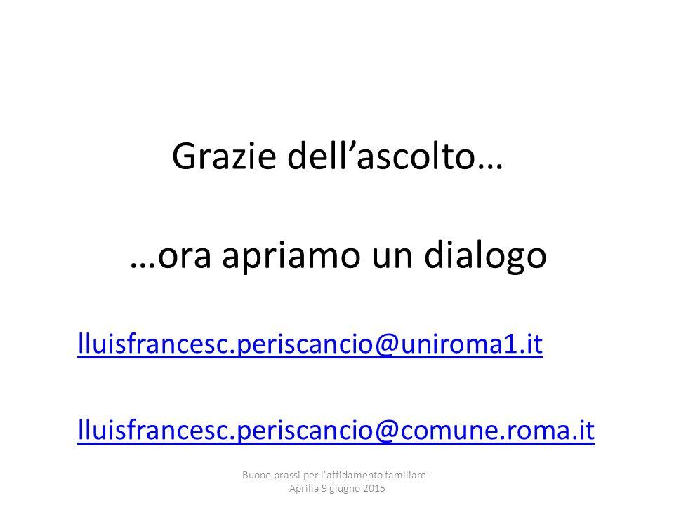Grazie dell'ascolto… …ora apriamo un dialogo lluisfrancesc.periscancio@uniroma1.it lluisfrancesc.periscancio@comune.roma.it Buone prassi per l'affidam