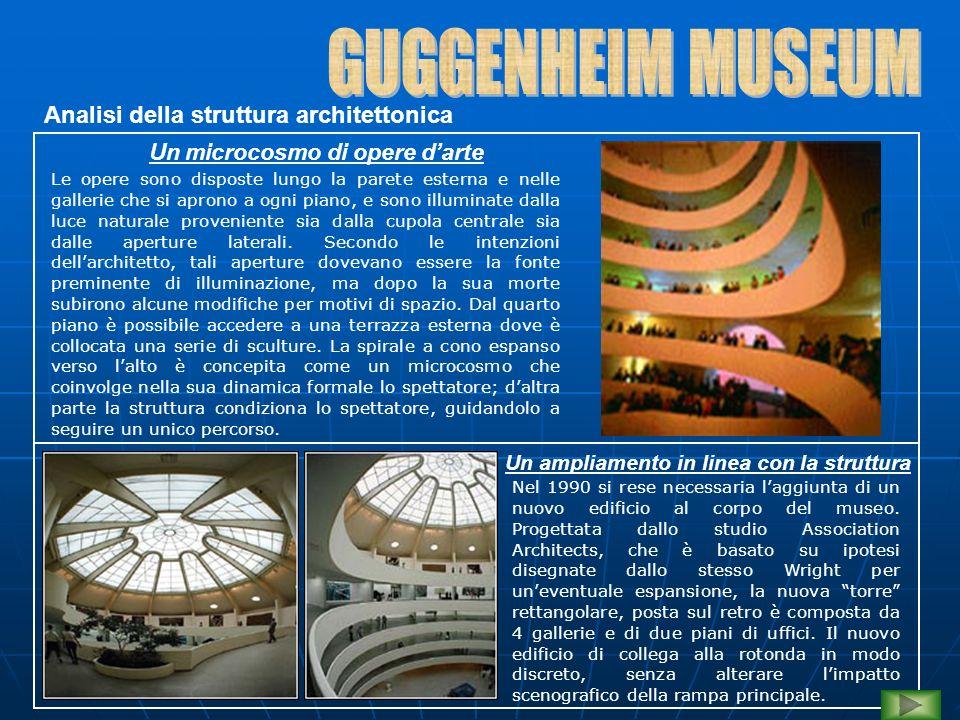 Un microcosmo di opere d'arte Le opere sono disposte lungo la parete esterna e nelle gallerie che si aprono a ogni piano, e sono illuminate dalla luce