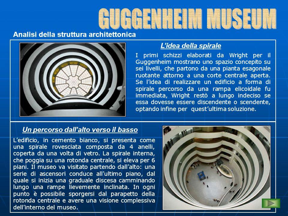 Analisi della struttura architettonica L'idea della spirale I primi schizzi elaborati da Wright per il Guggenheim mostrano uno spazio concepito su sei livelli, che partono da una pianta esagonale ruotante attorno a una corte centrale aperta.