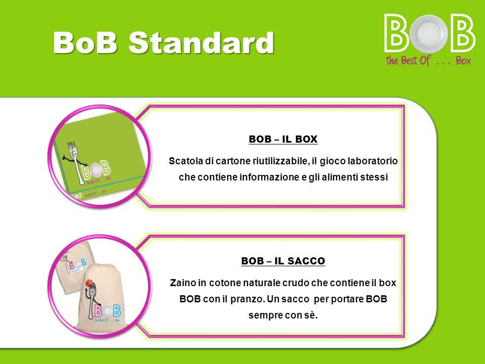 BoB Standard BOB – IL BOX Scatola di cartone riutilizzabile, il gioco laboratorio che contiene informazione e gli alimenti stessi BOB – IL SACCO Zaino