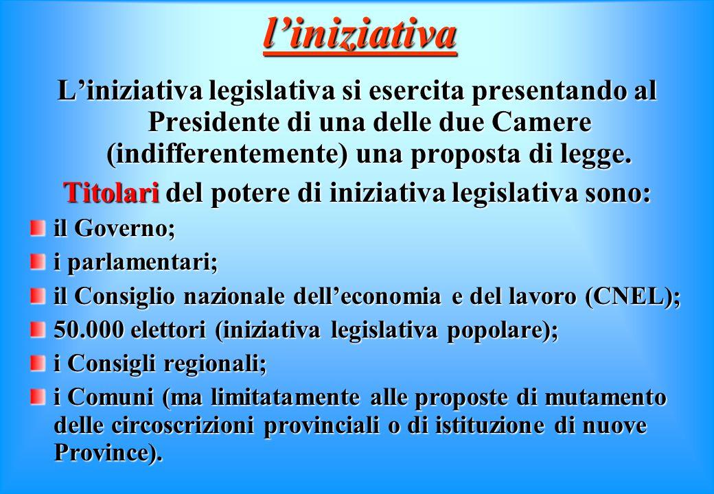 funzione legislativa Il procedimento di formazione delle leggi si articola in 4 fasi essenziali: fase di iniziativa fase di iniziativa fase istruttori