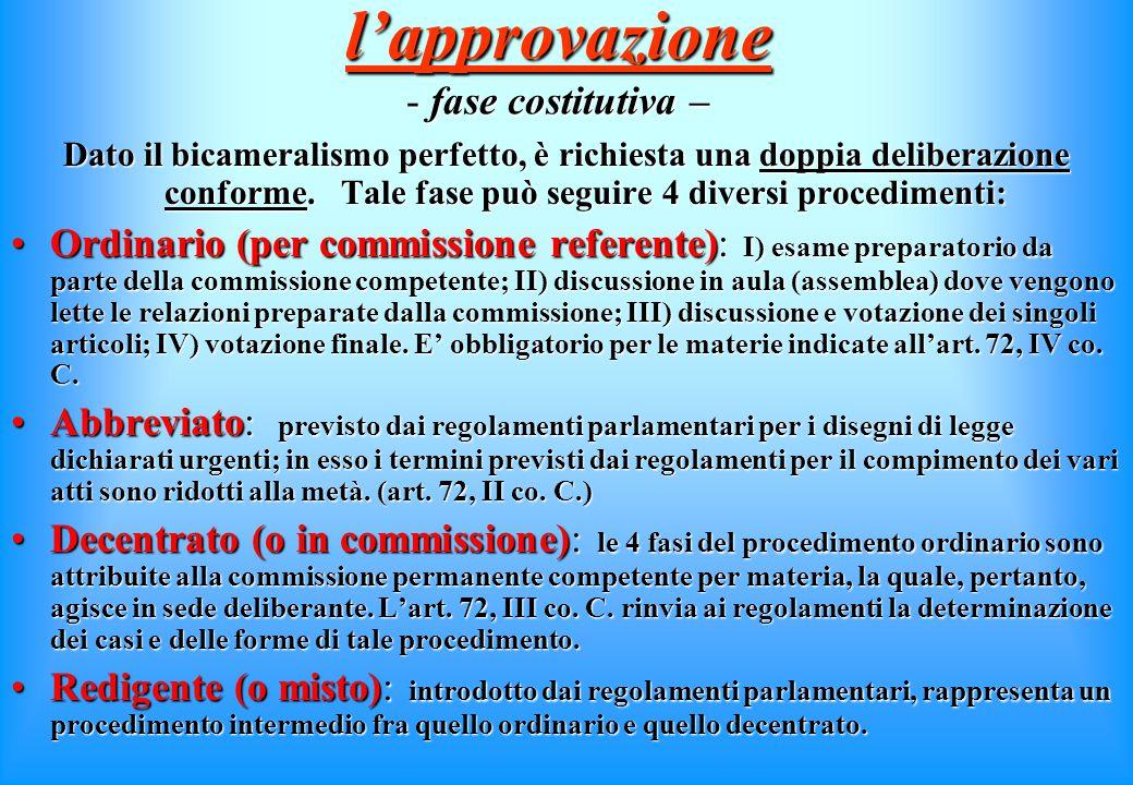 """l'istruttoria E' affidata alle Commissioni (permanenti), che in tal caso operano """"in sede referente"""", ossia svolgendo una funzione meramente consultiv"""