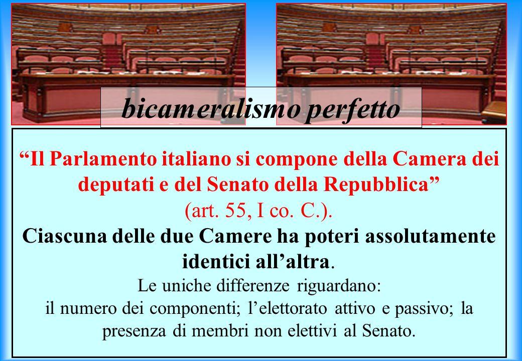 Il Parlamento italiano si compone della Camera dei deputati e del Senato della Repubblica (art.