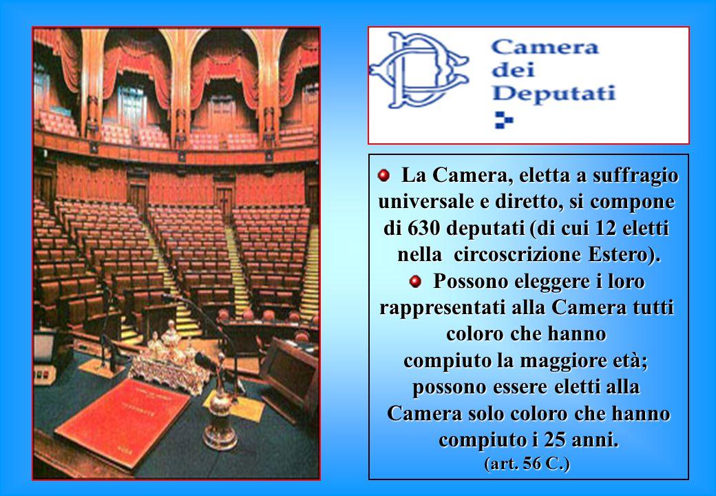 La Camera, eletta a suffragio La Camera, eletta a suffragio universale e diretto, si compone di 630 deputati (di cui 12 eletti nella circoscrizione Estero).