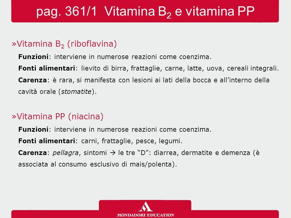 »Vitamina B 2 (riboflavina) Funzioni: interviene in numerose reazioni come coenzima. Fonti alimentari: lievito di birra, frattaglie, carne, latte, uov