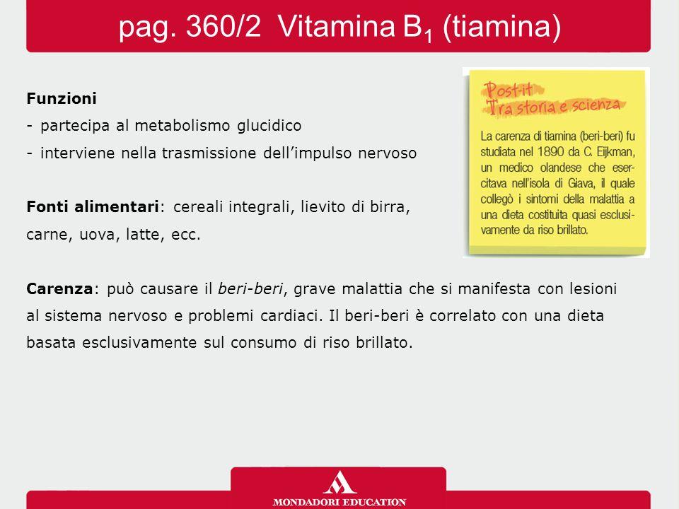 Funzioni -partecipa al metabolismo glucidico -interviene nella trasmissione dell'impulsonervoso Fonti alimentari: cereali integrali, lievito di birra,