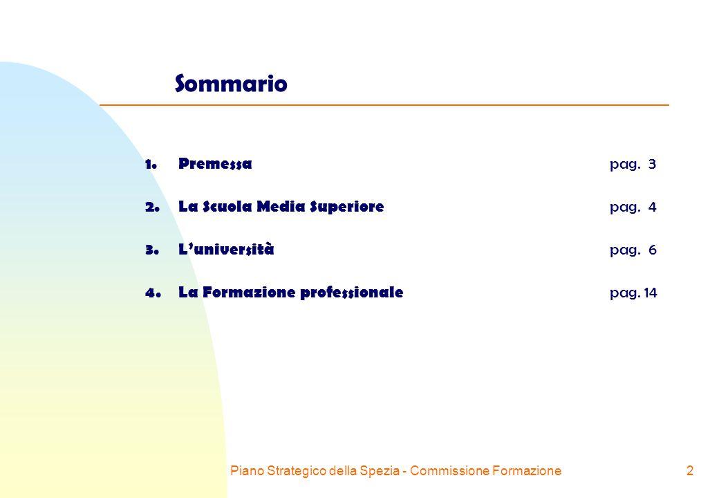 Piano Strategico della Spezia - Commissione Formazione2 Sommario 1.Premessa pag.