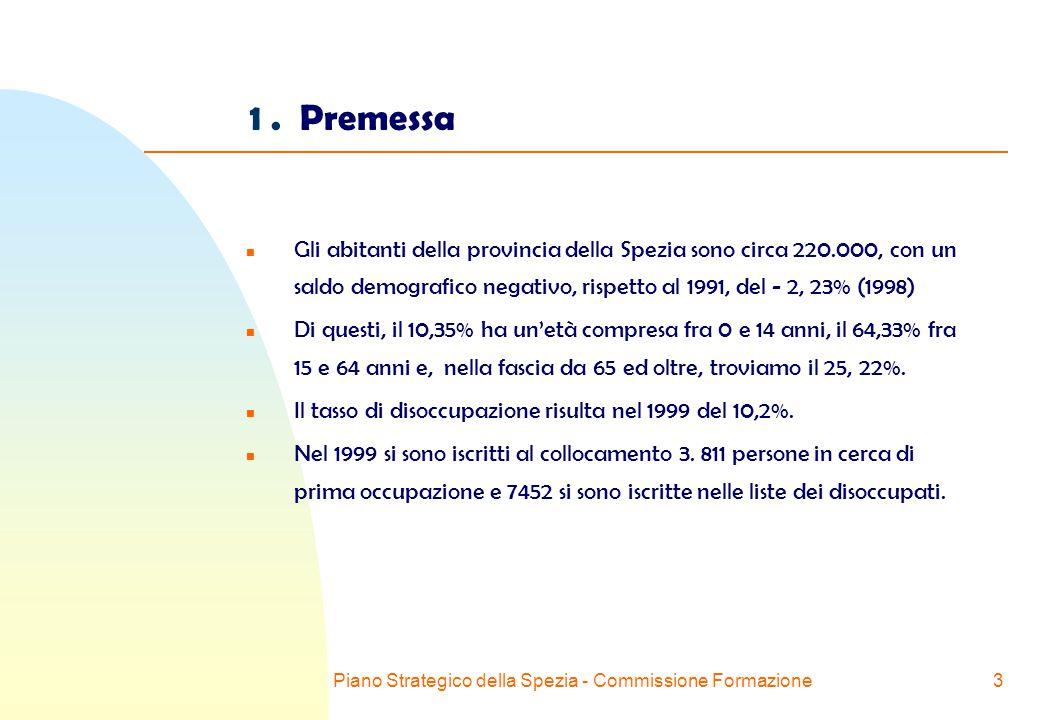 Piano Strategico della Spezia - Commissione Formazione3 n Gli abitanti della provincia della Spezia sono circa 220.000, con un saldo demografico negativo, rispetto al 1991, del - 2, 23% (1998) n Di questi, il 10,35% ha un'età compresa fra 0 e 14 anni, il 64,33% fra 15 e 64 anni e, nella fascia da 65 ed oltre, troviamo il 25, 22%.
