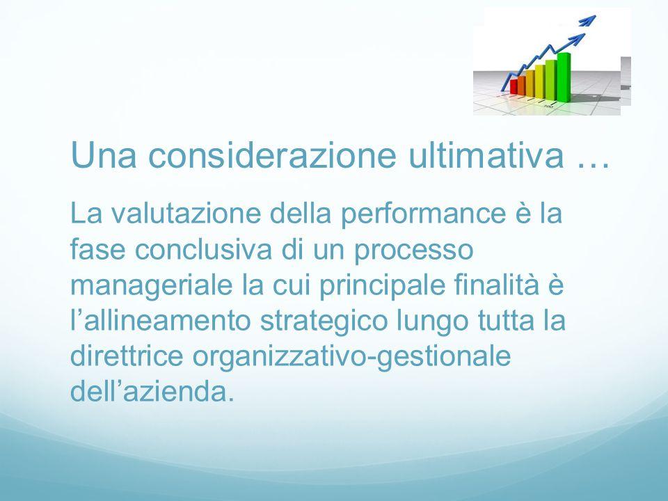 La valutazione della performance è la fase conclusiva di un processo manageriale la cui principale finalità è l'allineamento strategico lungo tutta la