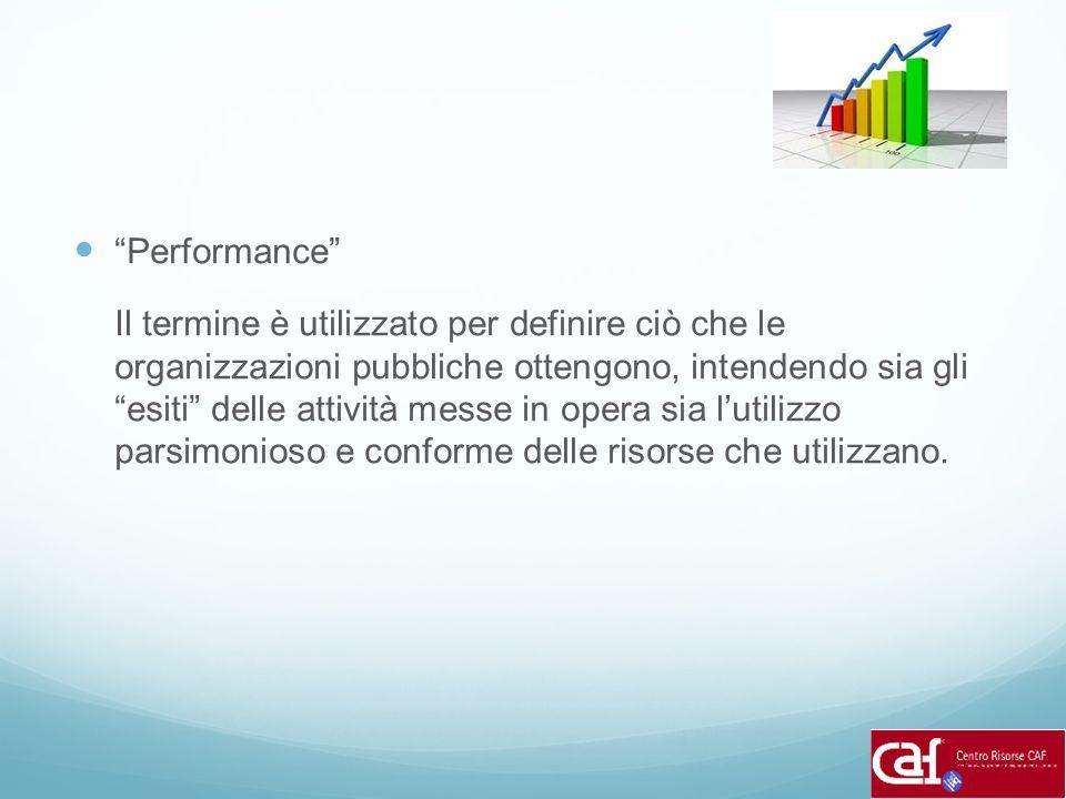 """""""Performance"""" Il termine è utilizzato per definire ciò che le organizzazioni pubbliche ottengono, intendendo sia gli """"esiti"""" delle attività messe in o"""