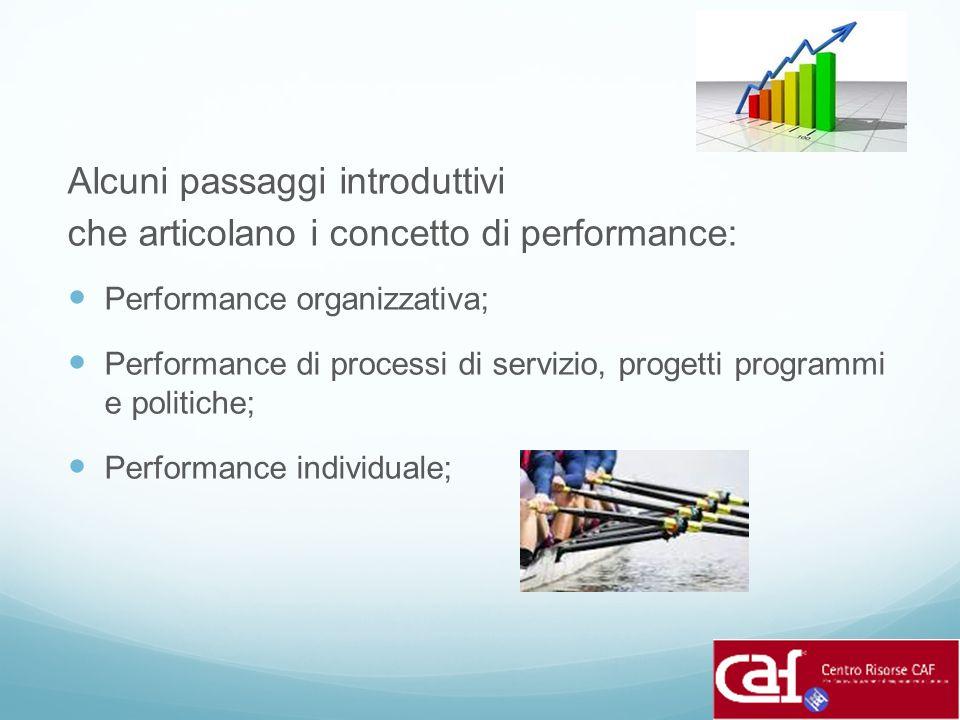 Alcuni passaggi introduttivi che articolano i concetto di performance: Performance organizzativa; Performance di processi di servizio, progetti progra