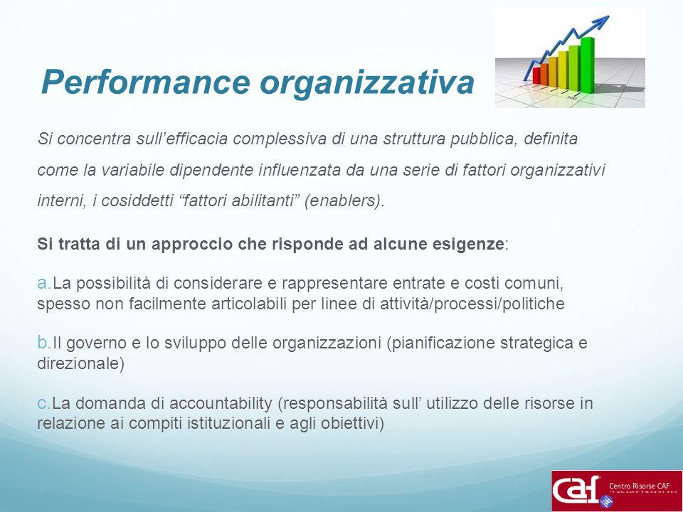 Performance organizzativa Si concentra sull'efficacia complessiva di una struttura pubblica, definita come la variabile dipendente influenzata da una