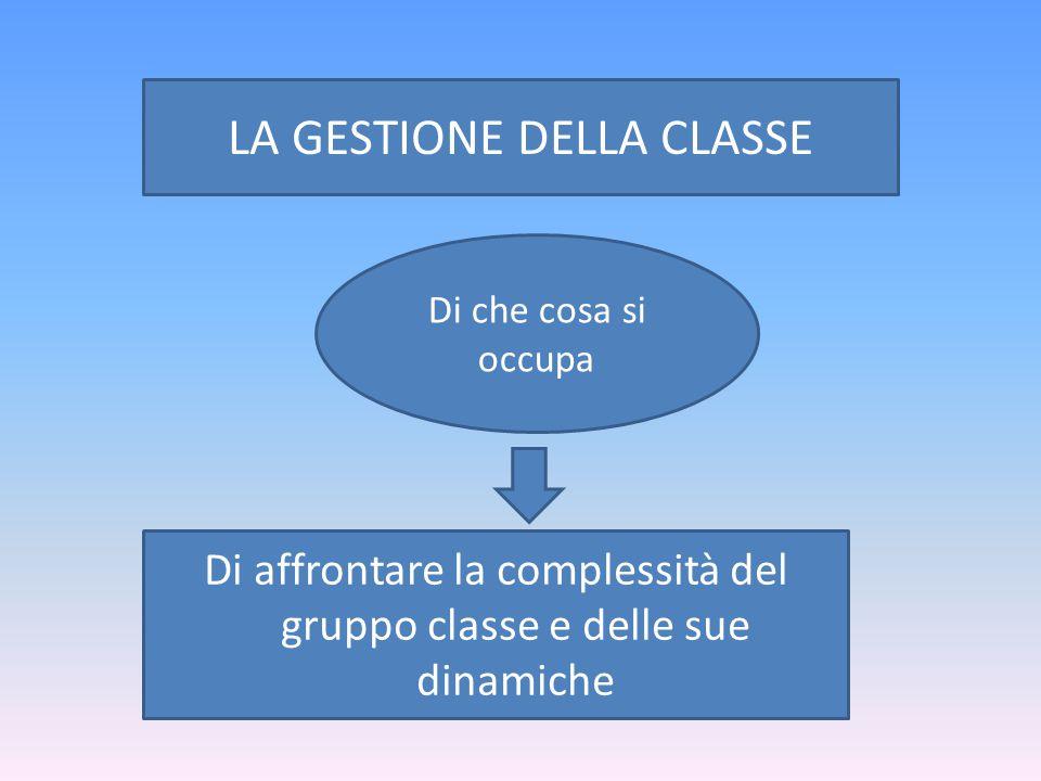 Di affrontare la complessità del gruppo classe e delle sue dinamiche Di che cosa si occupa LA GESTIONE DELLA CLASSE
