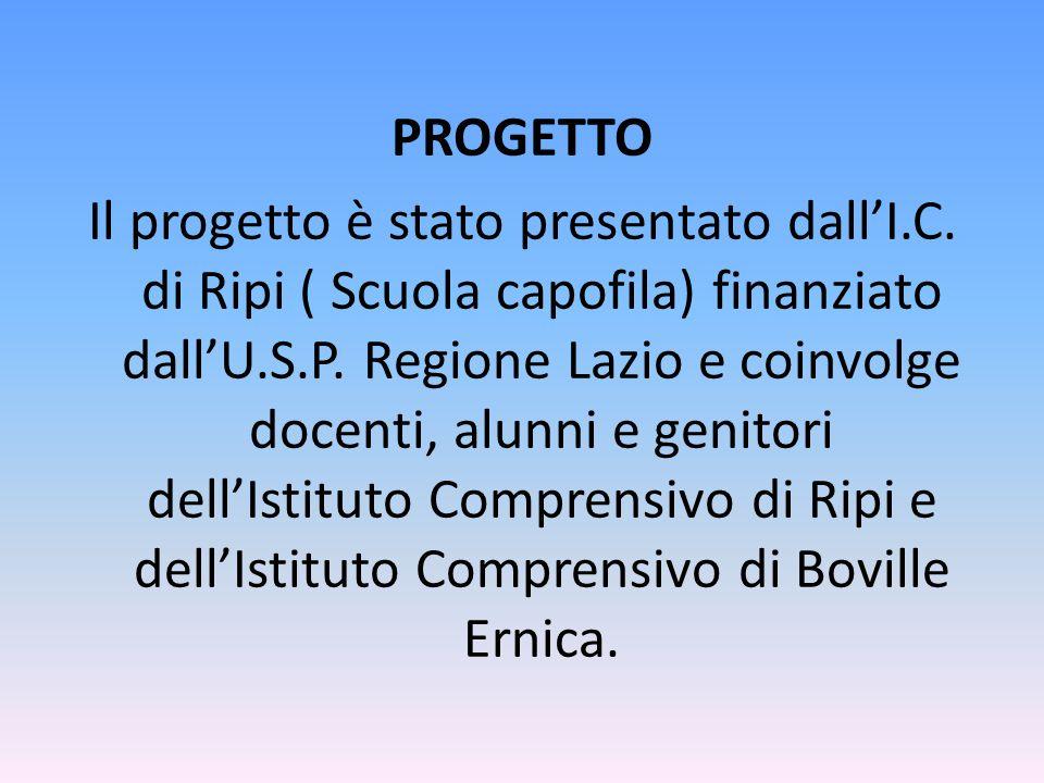 PROGETTO Il progetto è stato presentato dall'I.C. di Ripi ( Scuola capofila) finanziato dall'U.S.P. Regione Lazio e coinvolge docenti, alunni e genito