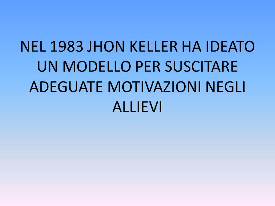 NEL 1983 JHON KELLER HA IDEATO UN MODELLO PER SUSCITARE ADEGUATE MOTIVAZIONI NEGLI ALLIEVI