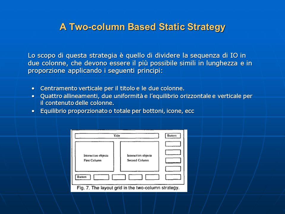 A Two-column Based Static Strategy Lo scopo di questa strategia è quello di dividere la sequenza di IO in due colonne, che devono essere il più possibile simili in lunghezza e in proporzione applicando i seguenti principi: Centramento verticale per il titolo e le due colonne.Centramento verticale per il titolo e le due colonne.