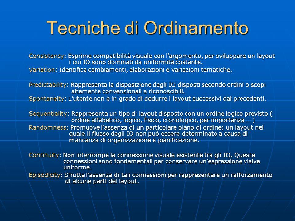 Tecniche di Ordinamento Consistency: Esprime compatibilità visuale con l'argomento, per sviluppare un layout i cui IO sono dominati da uniformità costante.