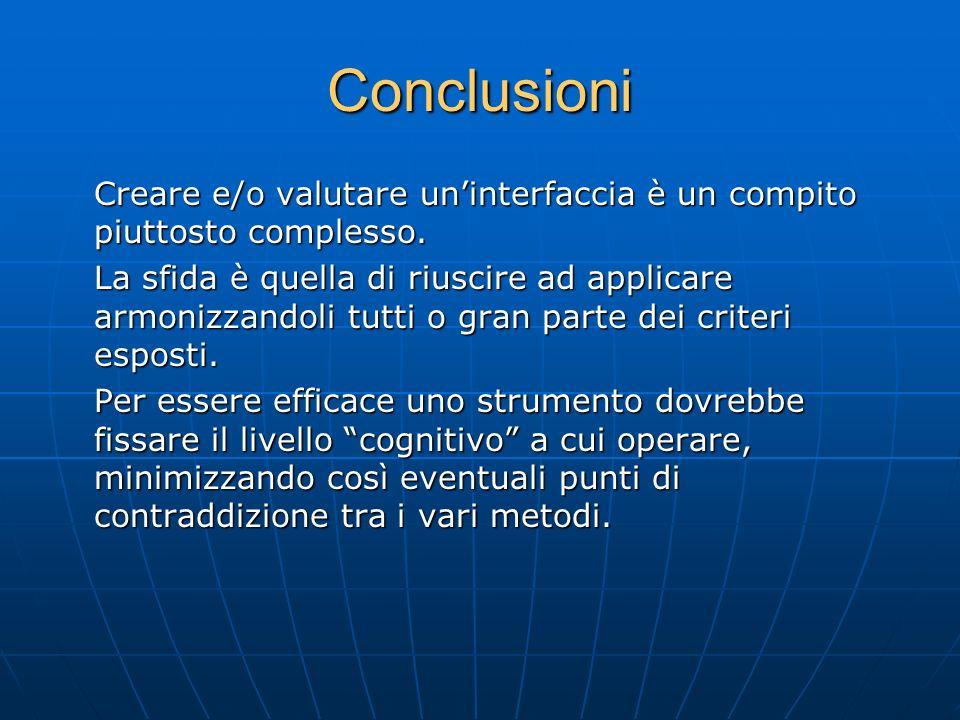 Conclusioni Creare e/o valutare un'interfaccia è un compito piuttosto complesso.