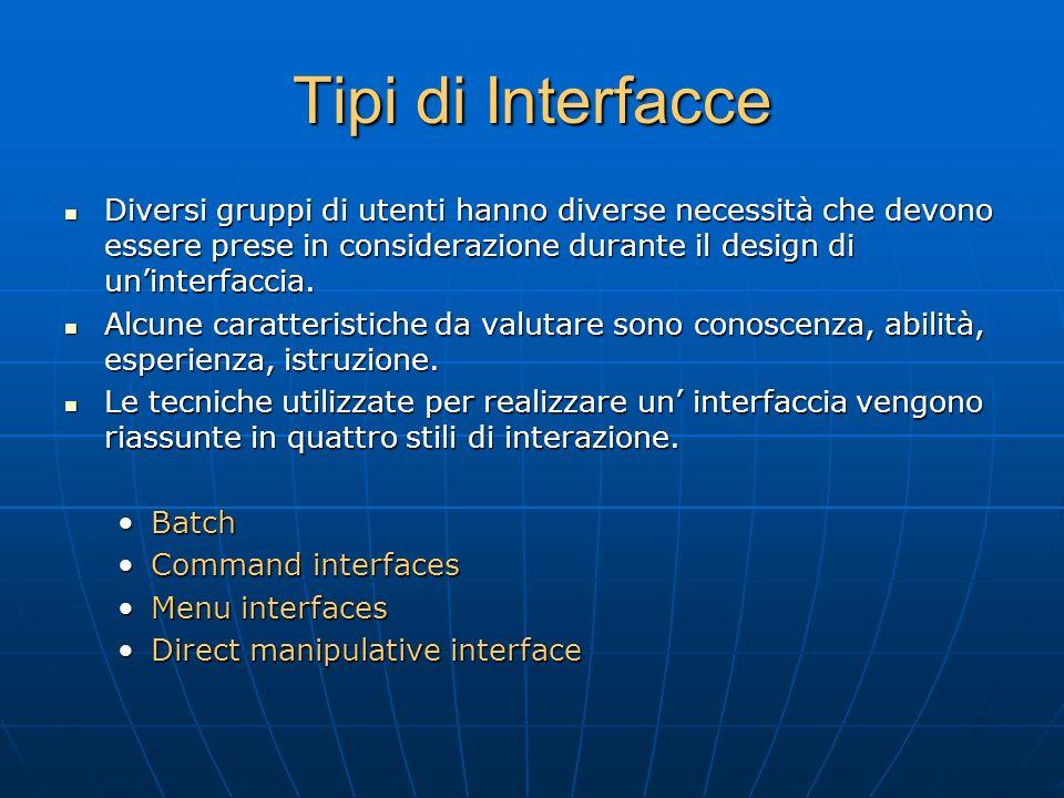 Tipi di Interfacce Diversi gruppi di utenti hanno diverse necessità che devono essere prese in considerazione durante il design di un'interfaccia.