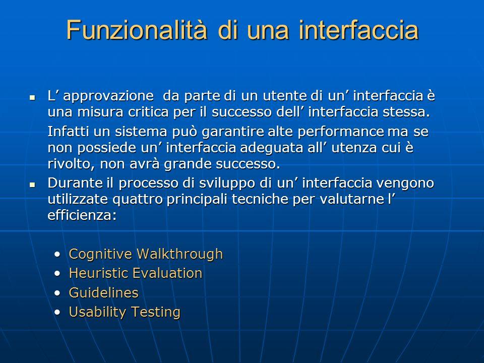 Tecniche di valutazione Cognitive Walthrough: gli sviluppatori percorrono all'interno dell'interfaccia i passi che l'utente dovrà realizzare, in cerca di errori di realizzazione Cognitive Walthrough: gli sviluppatori percorrono all'interno dell'interfaccia i passi che l'utente dovrà realizzare, in cerca di errori di realizzazione Le azioni e il feedback dell'interfaccia vengono confrontati con gli obiettivi e le conoscenze dell'utente e le discrepanze tra le aspettative dell'utente e i passi richiesti dall'interfaccia vengono notati.