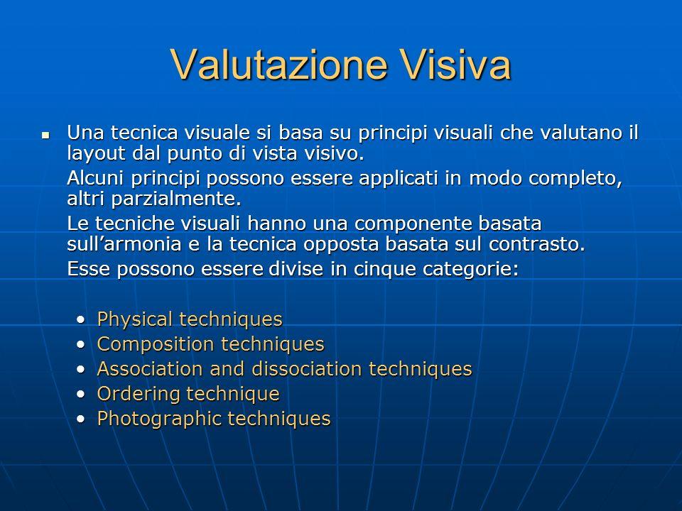 Valutazione Visiva Una tecnica visuale si basa su principi visuali che valutano il layout dal punto di vista visivo.